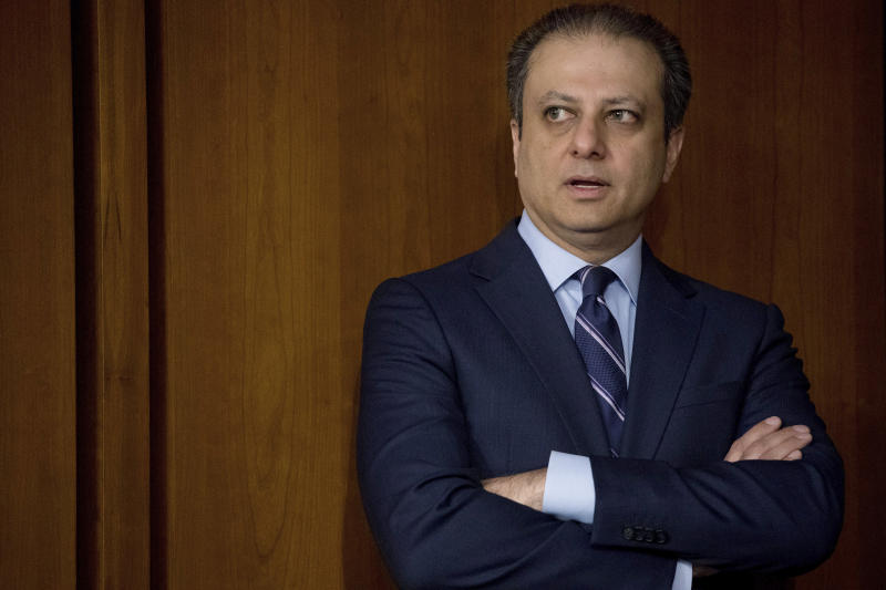 """FILE - In this June 8, 2017, file photo, former United States Attorney for the Southern District of New York Preet Bharara arrives before former FBI director James Comey testifies at a Senate Intelligence Committee hearing on Capitol Hill in Washington. Bharara had a snickering response to news that his successor as top federal prosecutor was """"stepping down"""" from the job. """"Doesn't sound like 'stepping down,'"""" Bharara tweeted soon after the announcement was made Friday, June 19, 2020, that Geoffrey S. Berman was out. (AP Photo/Andrew Harnik, File)"""