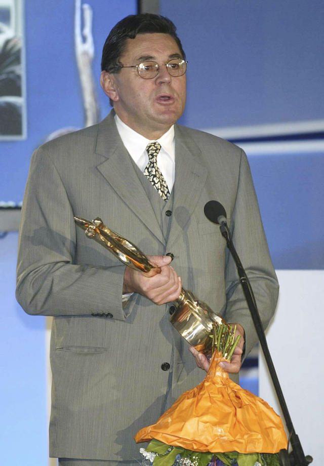 FILE - In this Nov. 30, 2002, file photo, former NHL player Vaclav Nedomansky expresses his thanks after being inducted into the Slovak Hockey Hall of Fame at Bratislava Castle, Slovakia. Nedomansky was elected to the Hockey Hall of Fame in Toronto, Tuesday, June 25, 2019. (AP Photo/Rudi Blaha, File)