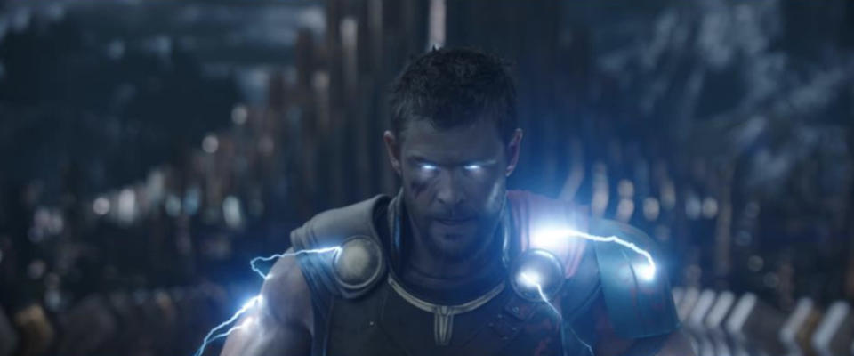Electric Thor in <i>Ragnarok</i> can harness his powers even without Mjolnir; the trailer version (shown here) is altered from the film, where Thor is missing an eye. (Photo: Marvel Studios)