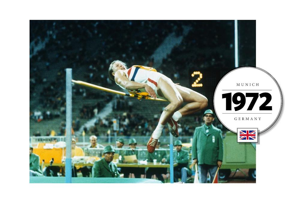 Mary Peters, who won the Gold in Pentathlon at the 1972 Summer Olympics in Munich, Germany, wore her team colors in a bold, graphic print — red and blue stripes. (Getty Images)