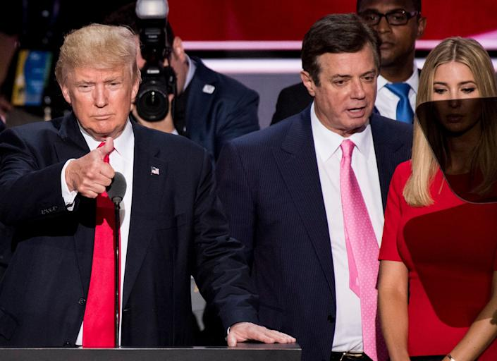 Paul Manafort (right) pictured with Donald Trump at the Republican National Convention in Cleveland, Ohio. (Photo: Bill Clark via Getty Images)