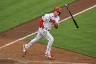 Cincinnati Reds' Tyler Stephenson flips his bat after hitting a walkoff RBI-single during the 10th inning of a baseball game against the Cleveland Indians in Cincinnati, Saturday, April 17, 2021. (AP Photo/Aaron Doster)