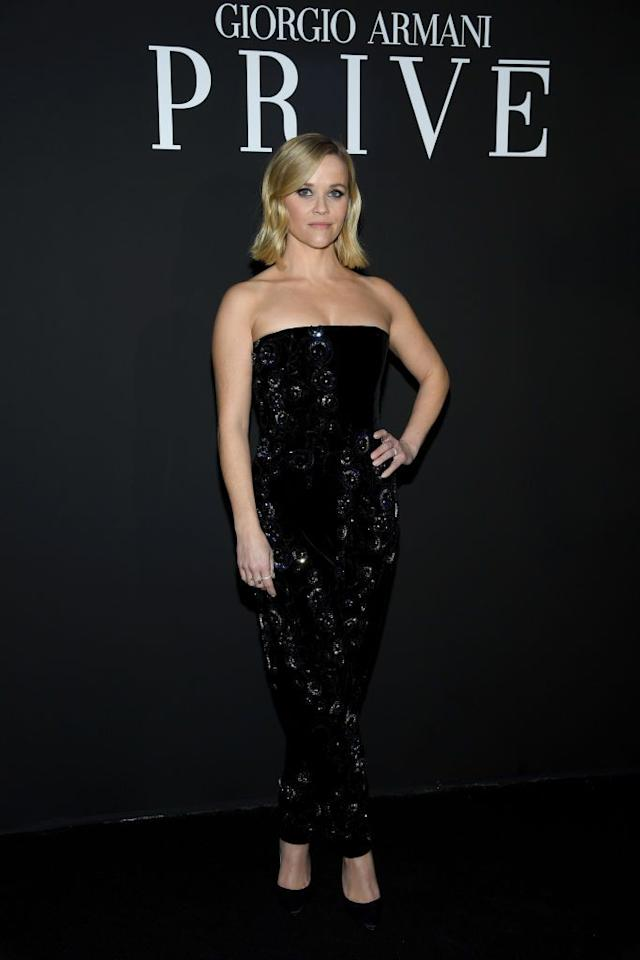 <p>Wearing sequins to the Giorgio Armani Prive Haute Couture spring/summer 2020 show during Paris Fashion Week.</p>