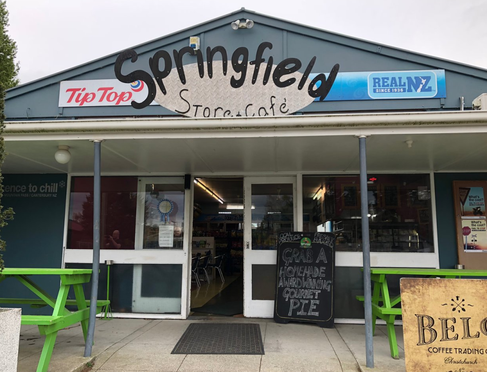 """Photo of the Springfield Store and Cafe in new Zealand with the """"rudest woman in the county""""."""