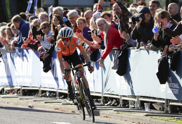 Dutch rider Annemiek van Vleuten pedals on her way to win the women elite race, at the road cycling World Championships in Harrogate, England, Saturday, Sept. 28, 2019. (AP Photo/Manu Fernandez)