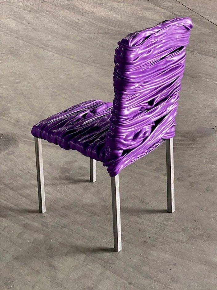An eye-catching purple chair featured in artist Youngmin Kang's reclaimed