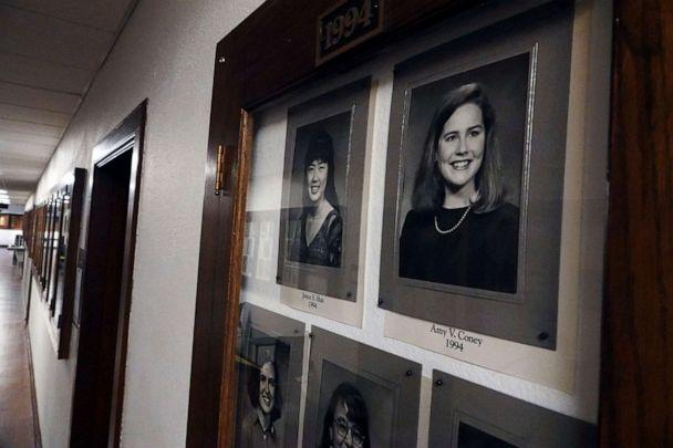 PHOTO: A photo of Amy Coney Barrett, a potential Supreme Court nominee, hangs in the Hall of Fame of Rhodes College in Memphis, Tenn., Sept. 22, 2020. (Karen Pulfer Focht/Reuters)