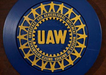 FILE PHOTO: The UAW logo is seen inside the United Auto workers Union Solidarity House in Detroit