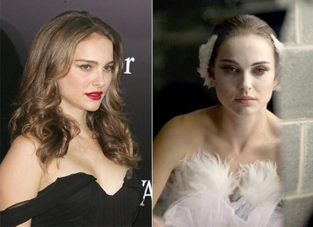 Natalie Portman, who had shaved her head for her role in 'V for Vendetta' in 2006, took another extreme step by shedding 20 lb in 6 months to portray her Oscar winning role of the psychotic ballerina Nina Sayers in 'Black Swan'
