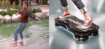 """<p>Probably the single most iconic prop from the 1989 movie is Marty's futuristic hoverboard, which updates the 1980s-style skateboard while removing that pesky tradition of wheels. Marty's board in the movie floats freely over any surface, including water — kind of like a radically miniaturized <a href=""""http://airlifthovercraft.com/"""" rel=""""nofollow noopener"""" target=""""_blank"""" data-ylk=""""slk:hovercraft"""" class=""""link rapid-noclick-resp"""">hovercraft</a>.</p><p>Hoverboards are indeed a reality in 2015, though they're nowhere near as versatile as Marty's ride. The California-based startup Arx Pax just unveiled its <a href=""""http://arxpax.com/newsroom/press-releases/"""" rel=""""nofollow noopener"""" target=""""_blank"""" data-ylk=""""slk:Hendo 2.0 hoverboard"""" class=""""link rapid-noclick-resp"""">Hendo 2.0 hoverboard</a>, which levitates on a magnetic cushion atop specially prepared metallic surfaces and half pipes. </p>"""