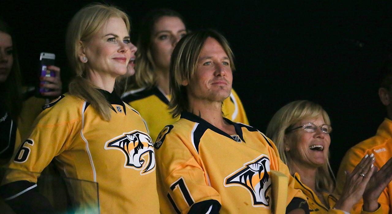 <p>Nicole Kidman and Keith Urban rock personalized Predators jerseys during Game 3 of the Stanley Cup Final in Nashville. (Terry Wyatt/Getty Images) </p>
