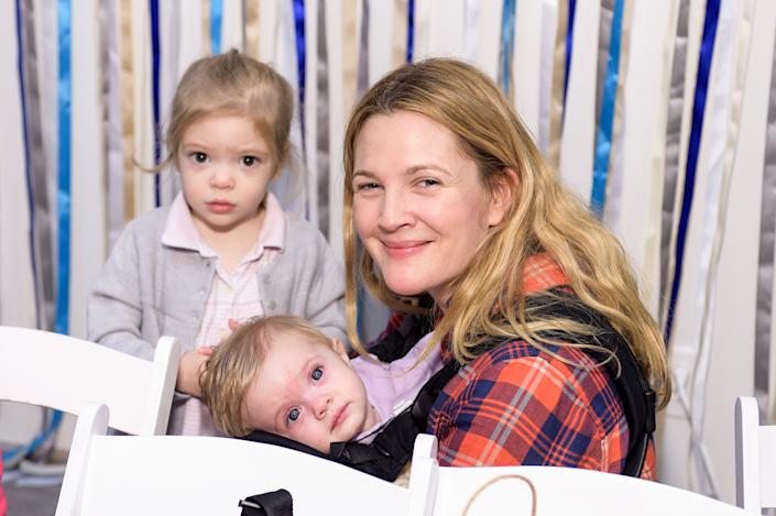 LOS ANGELES, CA - DECEMBER 13: Drew Barrymore, Olive Barrymore Kopelman and Frankie Barrymore Kopelman attend Baby2Baby Holiday Party Presented By The Honest Company  on December 13, 2014 in Los Angeles, California. (Photo by Stefanie Keenan/Getty Images for Baby2Baby)