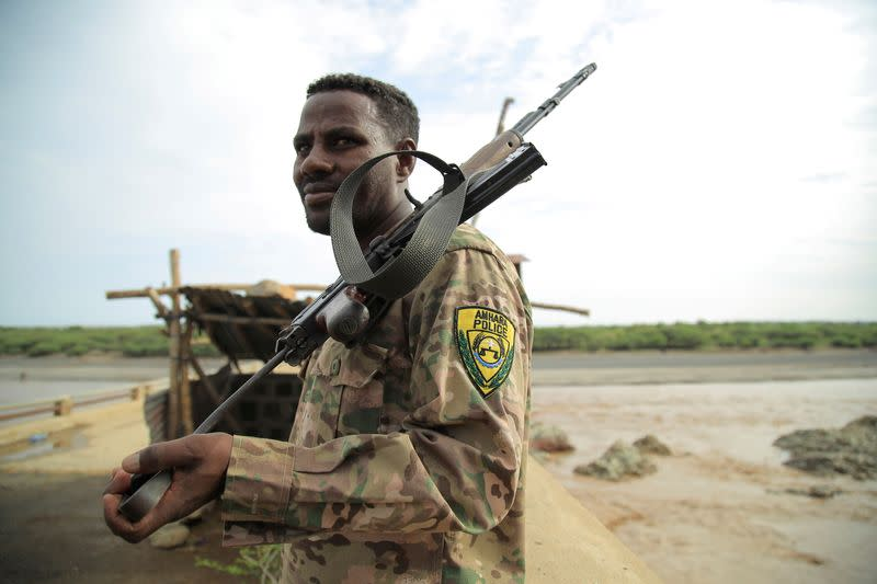FILE PHOTO: An Amhara Special Force member stands guard on Ethiopia-Eritrean border near in Humera town