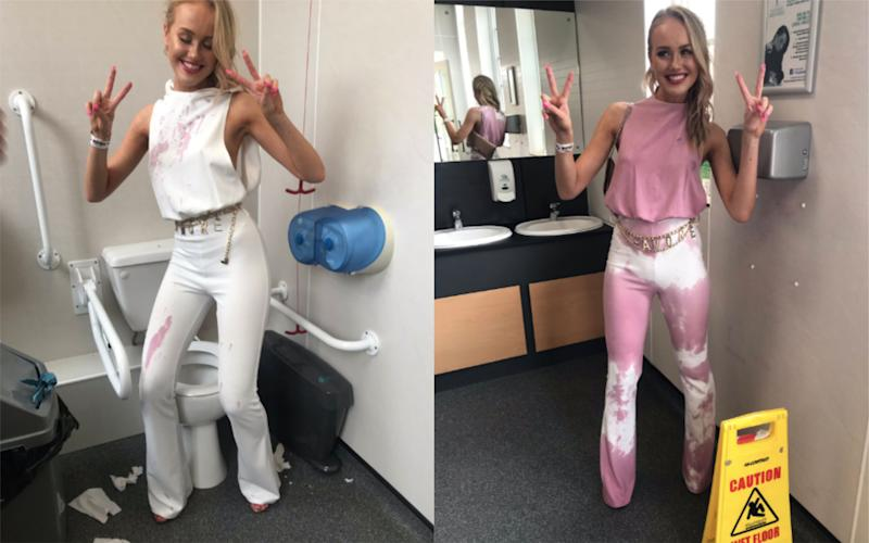 Eleanor Walton pulled off a 'genius' wardrobe transformation after a red wine spill [Photo: Twitter]