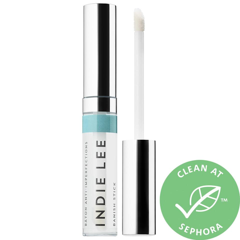 """<p>""""For spot treatments, right now I like <span>Indie Lee's Banish Stick</span> ($28). It's great as an on-the-go spot treatment for travelers and doesn't bleach clothing or pillowcases like benzoyl peroxide creams do. It has salicylic acid, glycolic acid, and zinc in it, so for the people who are allergic to sulfur, I usually recommend this treatment."""" - Dr. Sarkar</p>"""