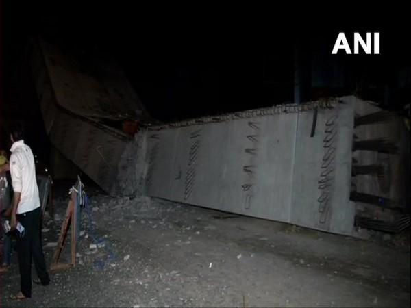 A section of an under-construction flyover collapses in Gurugram's Sohna Road on late Saturday night.