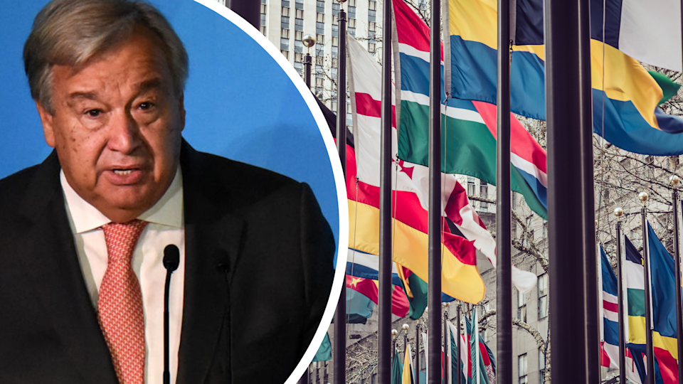 Pictured: United Nations Secretary-General Antonio Guterres, flags outside the UN. Images: Getty