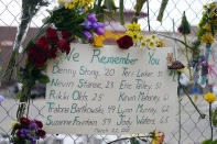 A handwritten sign bearing the names of the victims hangs on the temporary fence put up around the parking lot of a King Soopers grocery store where 10 people were killed earlier in the week in a mass shooting, Thursday, March 25, 2021, in Boulder, Colo. (AP Photo/David Zalubowski)