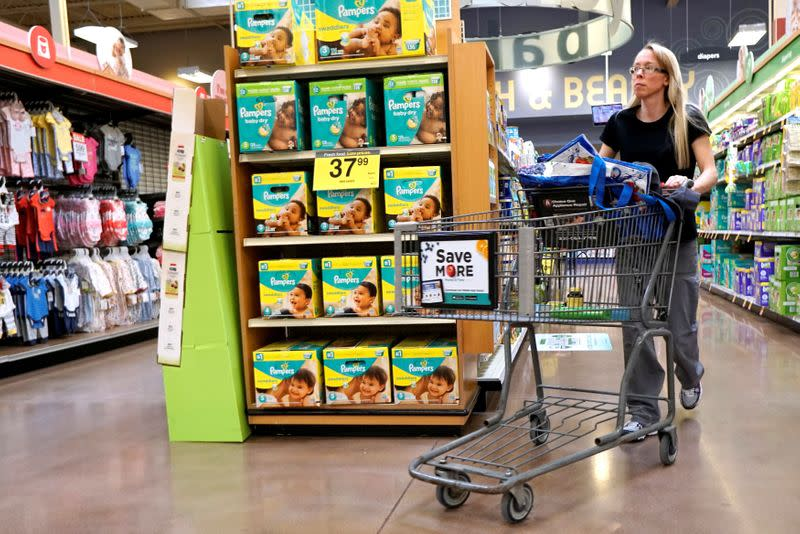 FILE PHOTO: A display of Pampers diapers are seen on sale in Denver