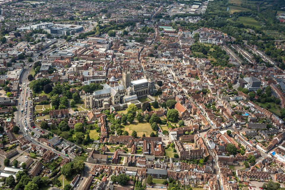 KENT, UNITED KINGDOM. JULY 2017. Aerial photograph of Canterbury Cathedral and the town centre on July 18th, 2017. This World Heritage Site dates back to 1070 it is located in the centre of Canterbury, 53 miles East Southeast of London, 14 miles West of the English Channel. (Photograph by David Goddard/Getty Images)