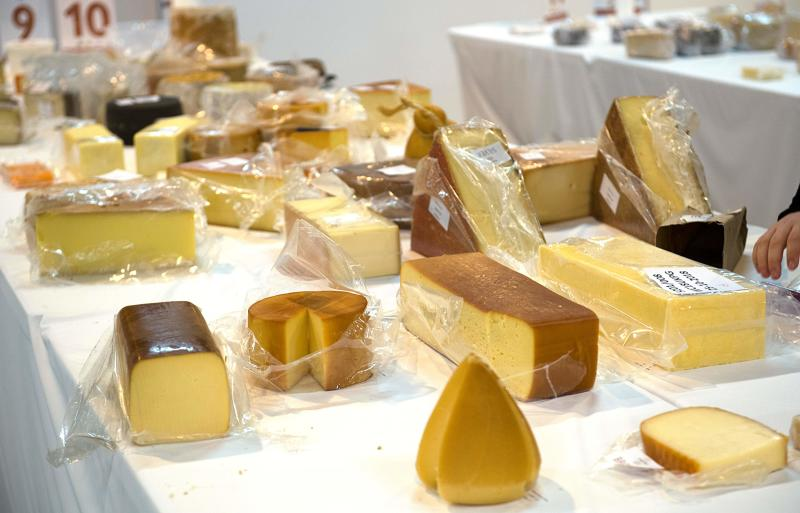 Some of the 3,500 cheeses are laid out during the World Cheese Awards 2018 in Grieghallen, Bergen, Norway on November 2, 2018. (Photo by Marit HOMMEDAL / various sources / AFP) / Norway OUT (Photo credit should read MARIT HOMMEDAL/AFP via Getty Images)