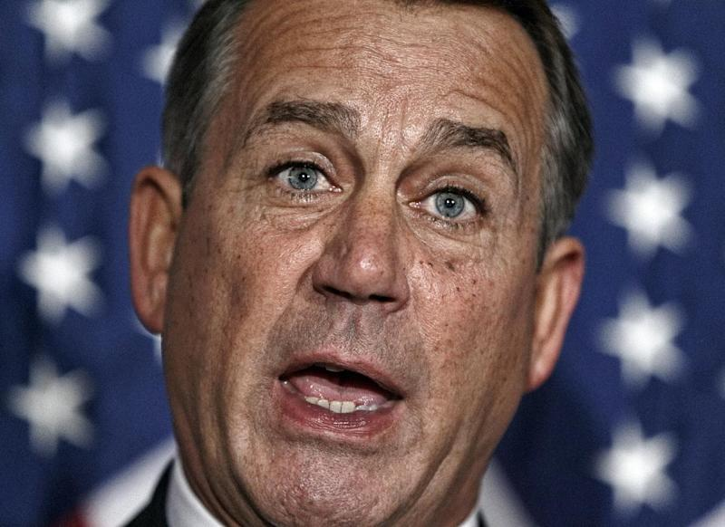 House Speaker John Boehner of Ohio speaks during a news conference on Capitol Hill in Washington, Tuesday, Feb. 7, 2012,  following a GOP strategy session. (AP Photo/J. Scott Applewhite)