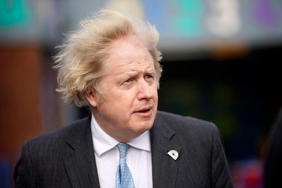 <p>Boris Johnson during a visit to St Mary's CE Primary School in Stoke-on-Trent</p> (PA)