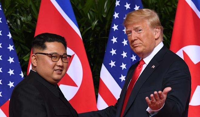North Korean leader Kim Jong Un and US President Donald Trump at their Singapore meeting. Photo: AFP