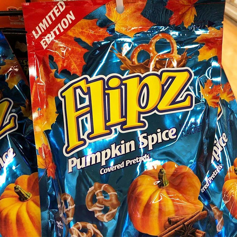 """<p><strong>First released:</strong> 2020</p><p>Chocolate-covered pretzels are the ultimate sweet and salted snack. Now they got a fall makeover, because Flipz has new <a href=""""https://www.bestproducts.com/lifestyle/a33756714/flipz-pumpkin-spice-covered-pretzels/"""" rel=""""nofollow noopener"""" target=""""_blank"""" data-ylk=""""slk:Pumpkin Spice Covered Pretzels"""" class=""""link rapid-noclick-resp"""">Pumpkin Spice Covered Pretzels</a>. </p><p>The pretzels appear to be covered in chocolate and a pumpkin spice drizzle, so it's pretty obvious that one bag certainly won't last long!</p>"""