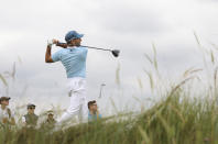 Spain's Sergio Garcia plays his tee shot off the 7th during the first round British Open Golf Championship at Royal St George's golf course Sandwich, England, Thursday, July 15, 2021. (AP Photo/Ian Walton)