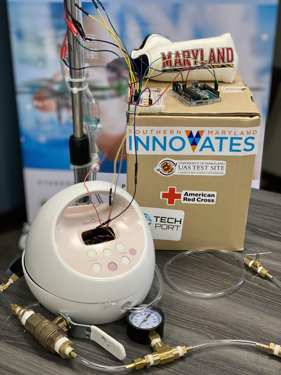 Maryland engineers hope to convert a breast pump into a ventilator to treat COVID-19 patients. (Photo: Courtesy of Rachel LaBatt)