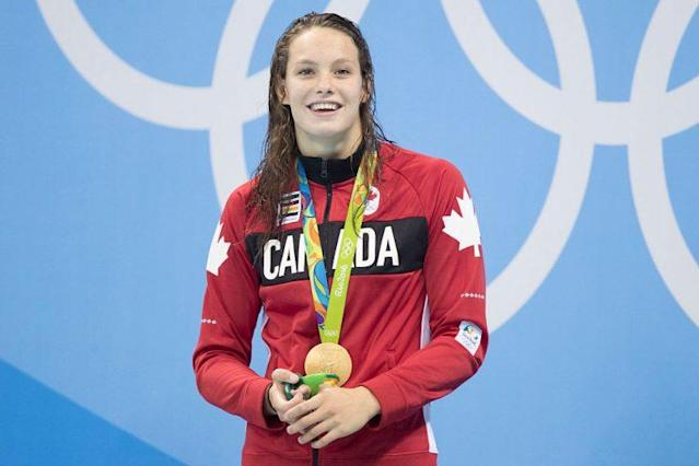 RIO DE JANEIRO, BRAZIL- AUGUST 11: <br>Penny Oleksiak swam in the womens 100m freestyle finals Thursday night and won gold along with American swimmerSimone Manuel at the Olympic Aquatics Centre during the 2016 summer Olympic Games in Rio de Janeiro, Brazil. <br>Lucas Oleniuk-Toronto Star (Lucas Oleniuk/Toronto Star via Getty Images)