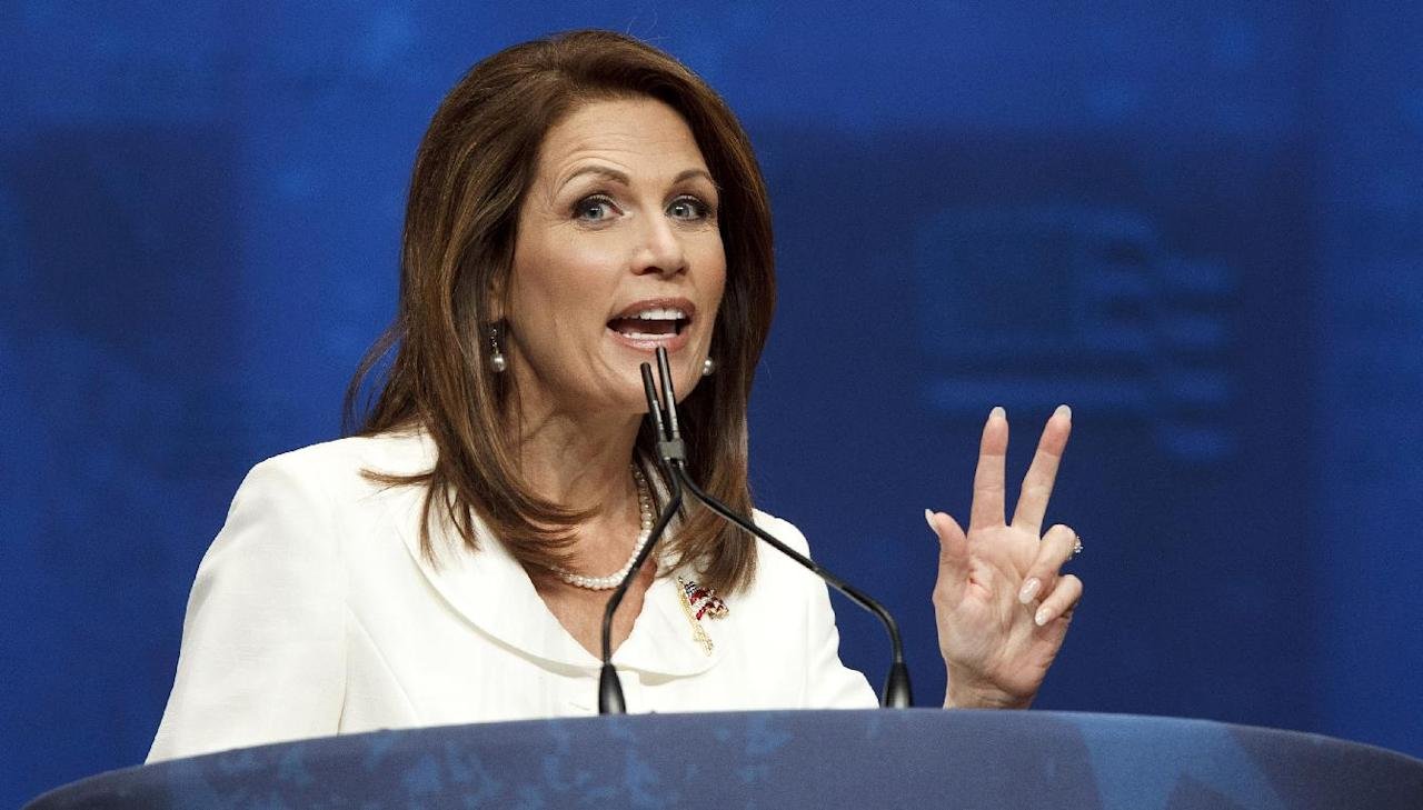 FILE - In this Feb. 9, 2012 file photo, former presidential candidate, Rep. Michele Bachmann, R-Minn. speaks in Washington. Bachmann will endorse Republican presidential candidate, former Massachusetts Gov. Mitt Romney. (AP Photo/J. Scott Applewhite, File)