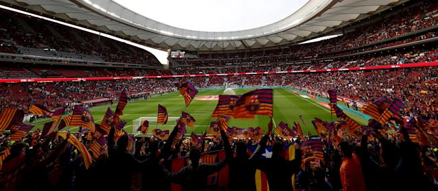 Soccer Football - Spanish King's Cup Final - FC Barcelona v Sevilla - Wanda Metropolitano, Madrid, Spain - April 21, 2018 General view of Barcelona fans waving flags in the stadium before the match REUTERS/Juan Medina TPX IMAGES OF THE DAY
