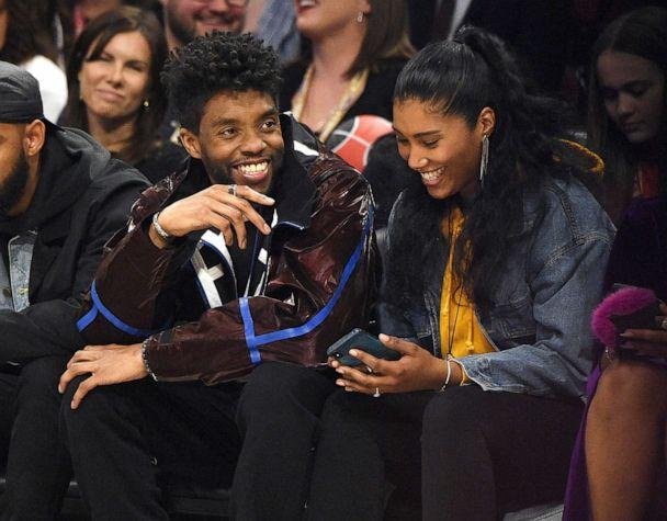 PHOTO: Chadwick Boseman, left, and Taylor Simone Ledward attend the 69th NBA All-Star Game at United Center on Feb. 16, 2020, in Chicago. (Kevin Mazur/Getty Images)