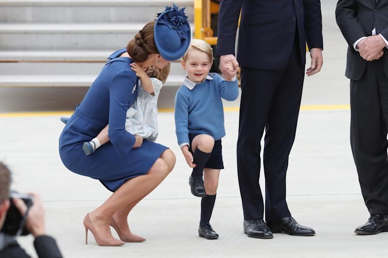 arrive at the Victoria Airport on September 24, 2016 in Victoria, Canada. Prince William, Duke of Cambridge, Catherine, Duchess of Cambridge, Prince George and Princess Charlotte are visiting Canada as part of an eight day visit to the country taking in areas such as Bella Bella, Whitehorse and Kelowna.