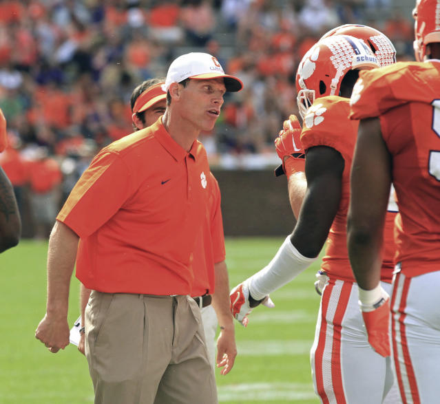 Clemson defensive coordinator Brent Venables is due for a head coaching job of his own. When will it happen? (AP file photo)