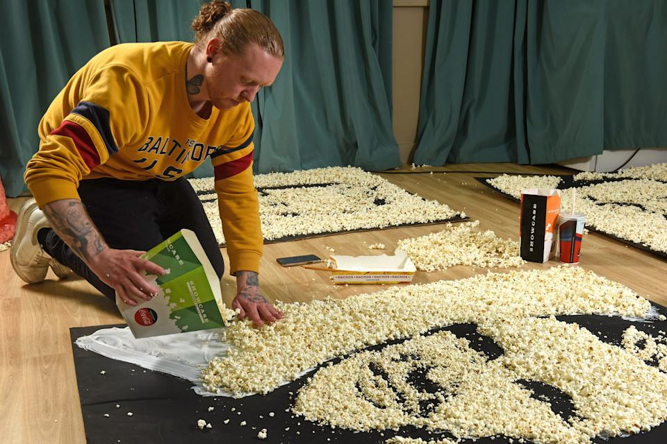 To celebrate Showcase will be doing free screenings of the Euros, portraits have been made of the three captains from England, Scotland and Wales.  The footballers are made out of popcorn by artist, Nathan Wyburn.