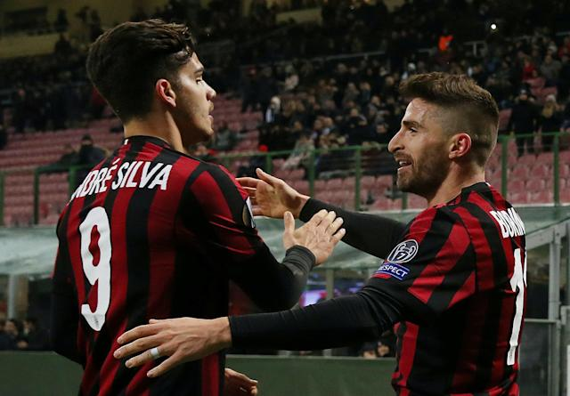 Soccer Football - Europa League Round of 32 Second Leg - AC Milan vs PFC Ludogorets Razgrad - San Siro, Milan, Italy - February 22, 2018 AC Milan's Fabio Borini celebrates scoring their first goal with Andre Silva REUTERS/Tony Gentile