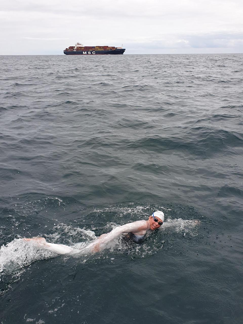 Chloe McCardel swimming the English Channel