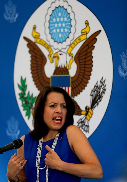 """Kelly Keiderling, Charge d'Affairs of the U.S. embassy in Venezuela, gives a news conference after Venezuela's President Nicolas Maduro expelled her and two other embassy officials from the country, in Caracas, Venezuela, Tuesday, Oct. 1, 2013. Maduro alleged they conspired with """"the extreme right"""" to sabotage the economy and power grid. Keiderling said the allegations were related to the their visit to Bolivar state, home to state-owned foundries and the country's main hydroelectric plant. On Monday night they were given 48 hours to leave Venezuela.(AP Photo/Fernando Llano)"""