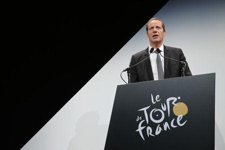 Tour de France director Christian Prudhomme speaks after he presented the itinerary of the 2017 Tour de France cycling race during a news conference in Paris, France, October 18, 2016. The world's greatest cycling event will start from Duesseldorf on July 1 and will finish on the Champs Elysees in Paris on July 23. REUTERS/Benoit Tessier - LR1ECAI0UQ6JP