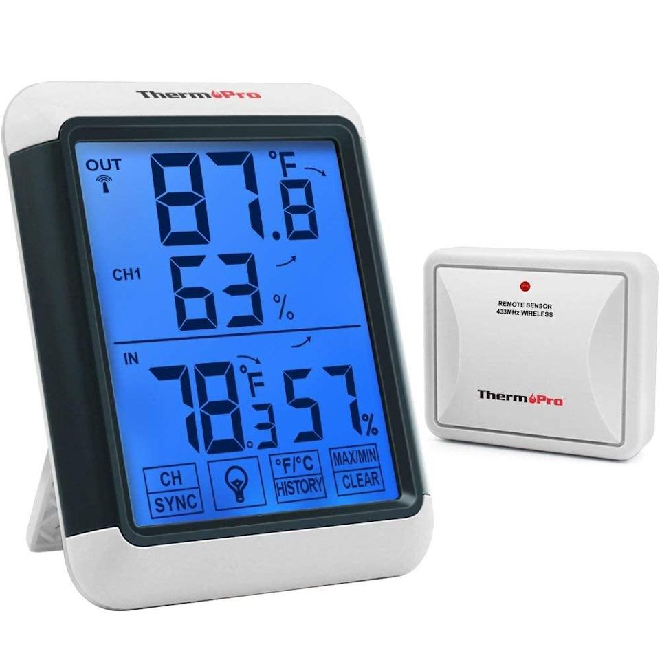 """<p>This <a href=""""https://www.popsugar.com/buy/ThermoPro-TP65-Digital-Wireless-Hygrometer-Indoor-Outdoor-Thermometer-379153?p_name=ThermoPro%20TP65%20Digital%20Wireless%20Hygrometer%20Indoor%20Outdoor%20Thermometer&retailer=amazon.com&pid=379153&price=26&evar1=geek%3Aus&evar9=36026397&evar98=https%3A%2F%2Fwww.popsugar.com%2Ftech%2Fphoto-gallery%2F36026397%2Fimage%2F45606320%2FThermoPro-TP65-Digital-Wireless-Hygrometer-Indoor-Outdoor-Thermometer&list1=shopping%2Cgifts%2Camazon%2Choliday%2Csale%2Cgift%20guide%2Cdigital%20life%2Cblack%20friday%2Ccyber%20monday%2Ctech%20shopping%2Csale%20shopping%2Cblack%20friday%20sales%2Ctech%20gifts%2Cgifts%20for%20men%2Csales%20and%20deals&prop13=api&pdata=1"""" class=""""link rapid-noclick-resp"""" rel=""""nofollow noopener"""" target=""""_blank"""" data-ylk=""""slk:ThermoPro TP65 Digital Wireless Hygrometer Indoor Outdoor Thermometer"""">ThermoPro TP65 Digital Wireless Hygrometer Indoor Outdoor Thermometer</a> ($26) can monitor the temperatures of up to three remote locations at once.</p>"""