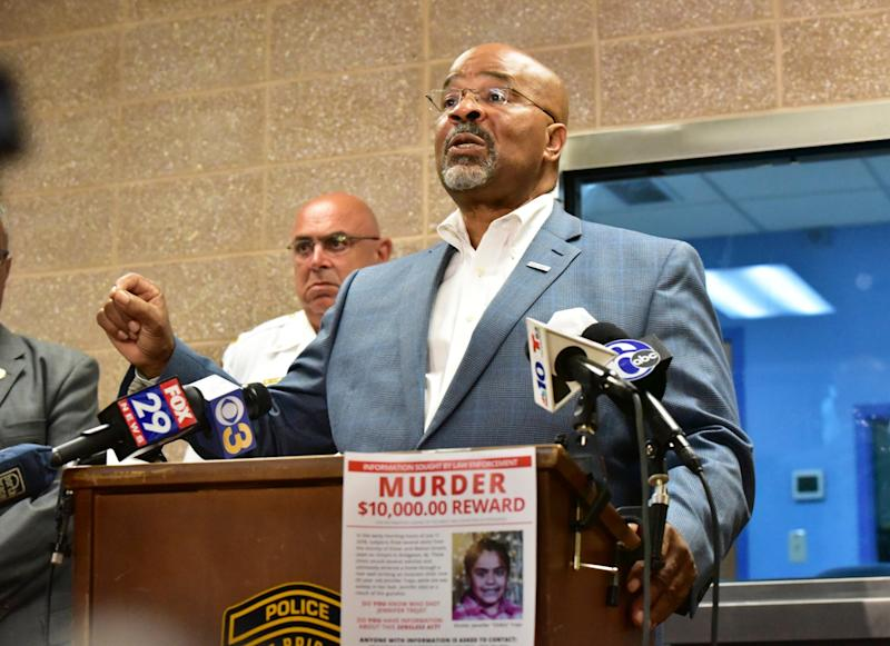 Bridgeton Mayor Albert Kelly discusses the fatal shooting of the young girl during a news conference at the Bridgeton Police Department: AP