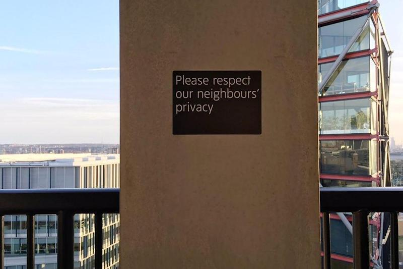 A sign has been put up at the Tate viewing platform asking visitors to 'respect our neighbours' privacy'