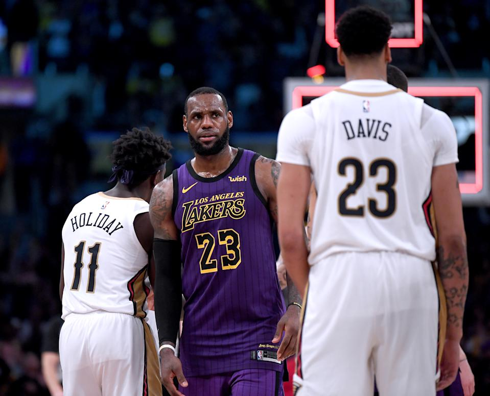 The Lakers' plan to build around LeBron James could hinge entirely on getting an Anthony Davis deal done. (Getty)