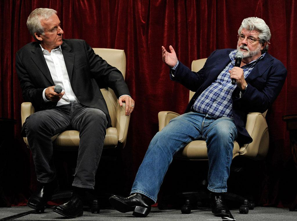 """<a href=""""http://movies.yahoo.com/movie/contributor/1800012402"""">James Cameron</a> and <a href=""""http://movies.yahoo.com/movie/contributor/1800017101"""">George Lucas</a> attend the 2011 CinemaCon digital filmmakers forum in Las Vegas, Nevada on March 30, 2011."""