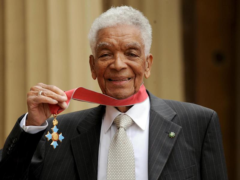 Earl Cameron outside Buckingham Palace with his CBE: Anthony Devlin/PA Wire