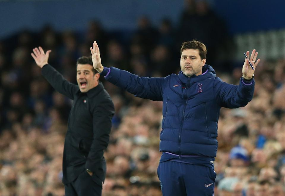 LIVERPOOL, ENGLAND - NOVEMBER 03: Marco Silva, Manager of Everton and Mauricio Pochettino, Manager of Tottenham Hotspur looks on during the Premier League match between Everton FC and Tottenham Hotspur at Goodison Park on November 03, 2019 in Liverpool, United Kingdom. (Photo by Jan Kruger/Getty Images)