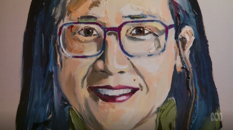 A portrait of Kylie Kwong done by Anh Do on ABC's Anh's Brush with Fame. Viewers were confused as to why Ms Kwong is wearing blue square glasses when on the show she was wearing round red ones.